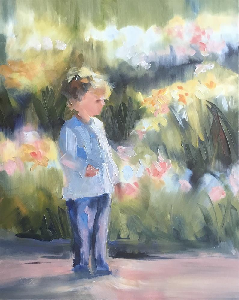 """A Stroll in the Flower Garden"" original fine art by Charlotte Fitzgerald"