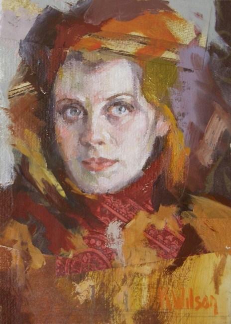 """""""Red Scarf"""" original fine art by Katie Wilson"""