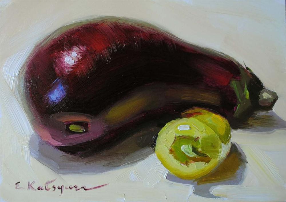 """Eggplant and Pepper"" original fine art by Elena Katsyura"