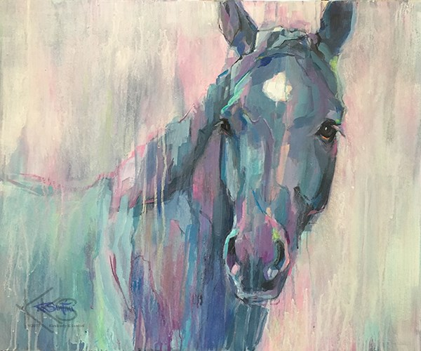 """The black horse is a uniquely powerful amulet"" original fine art by Kimberly Santini"