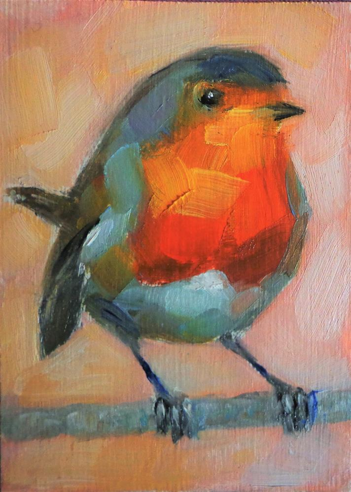 """European robin"" original fine art by Maria Z."