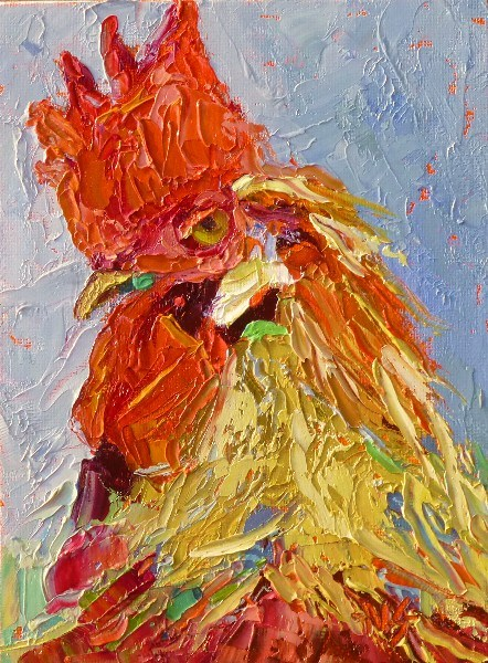 """Rooster in the House 13010"" original fine art by Nancy Standlee"