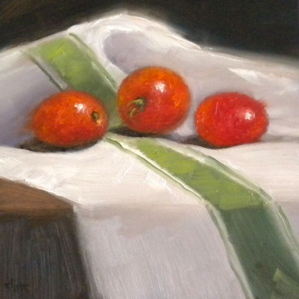 """Striped Green Tomatoes"" original fine art by Darla McDowell"