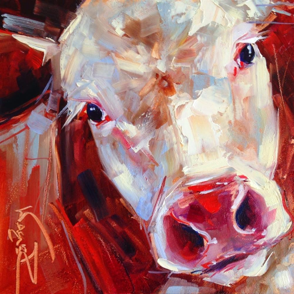 """""""ORIGINAL CONTEMPORARY COW PAINTING in OILS by OLGA WAGNER"""" original fine art by Olga Wagner"""