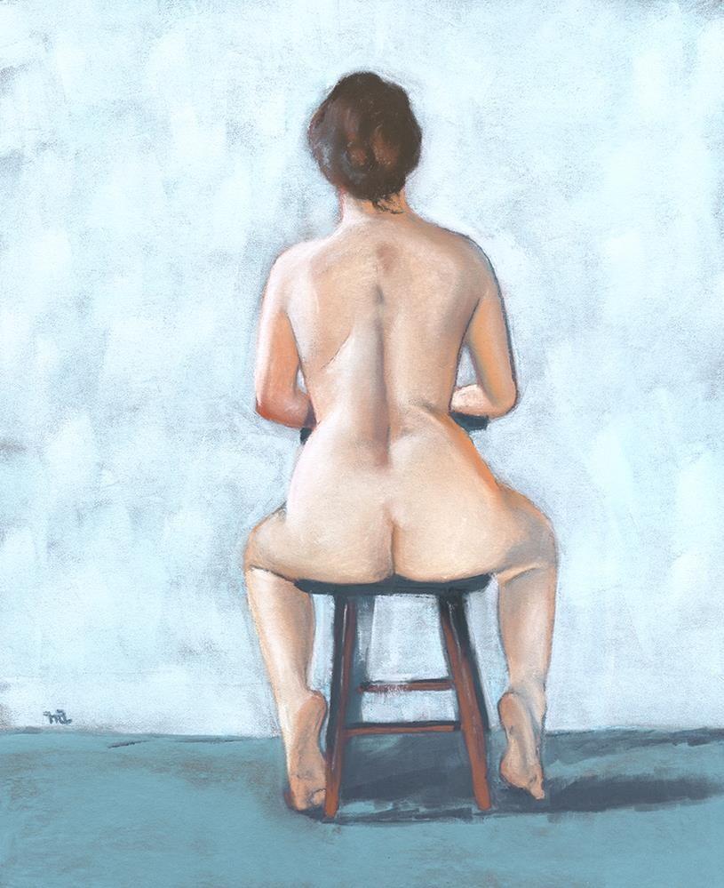 """Seated Nude"" original fine art by Ria Hills"