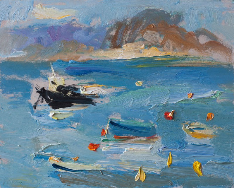 """Mediterranean Sea and Boats"" original fine art by Anna Fine Art"