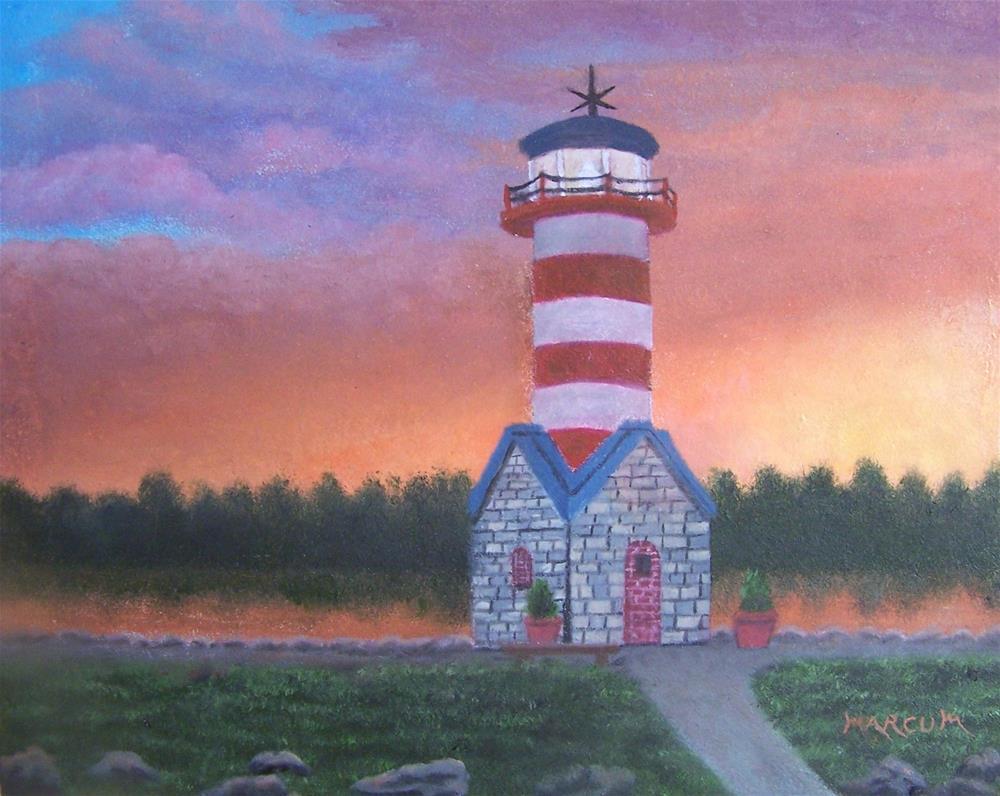"""Lighthouse at Grafton, Ill."" original fine art by John Marcum"