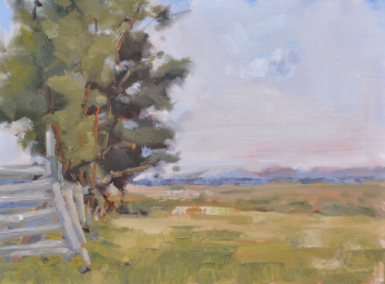 """Fenceline Grove"" original fine art by Julie Davis"