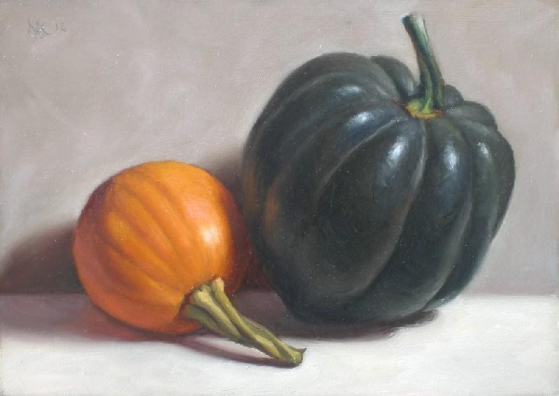 """""""Acorn Squash and Little Pumpkin"""" original fine art by Debra Becks Cooper"""