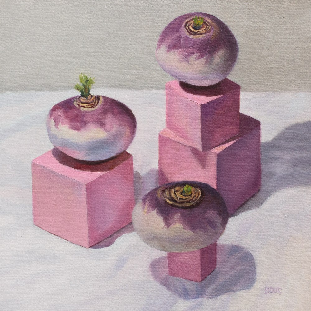 """Montessori Pink Tower Turnips"" original fine art by Jana Bouc"
