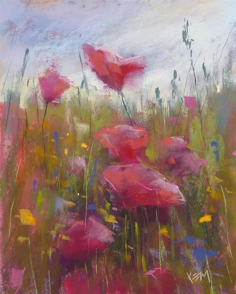 """Paint Along Monday: Painting a Poppy Meadow"" original fine art by Karen Margulis"