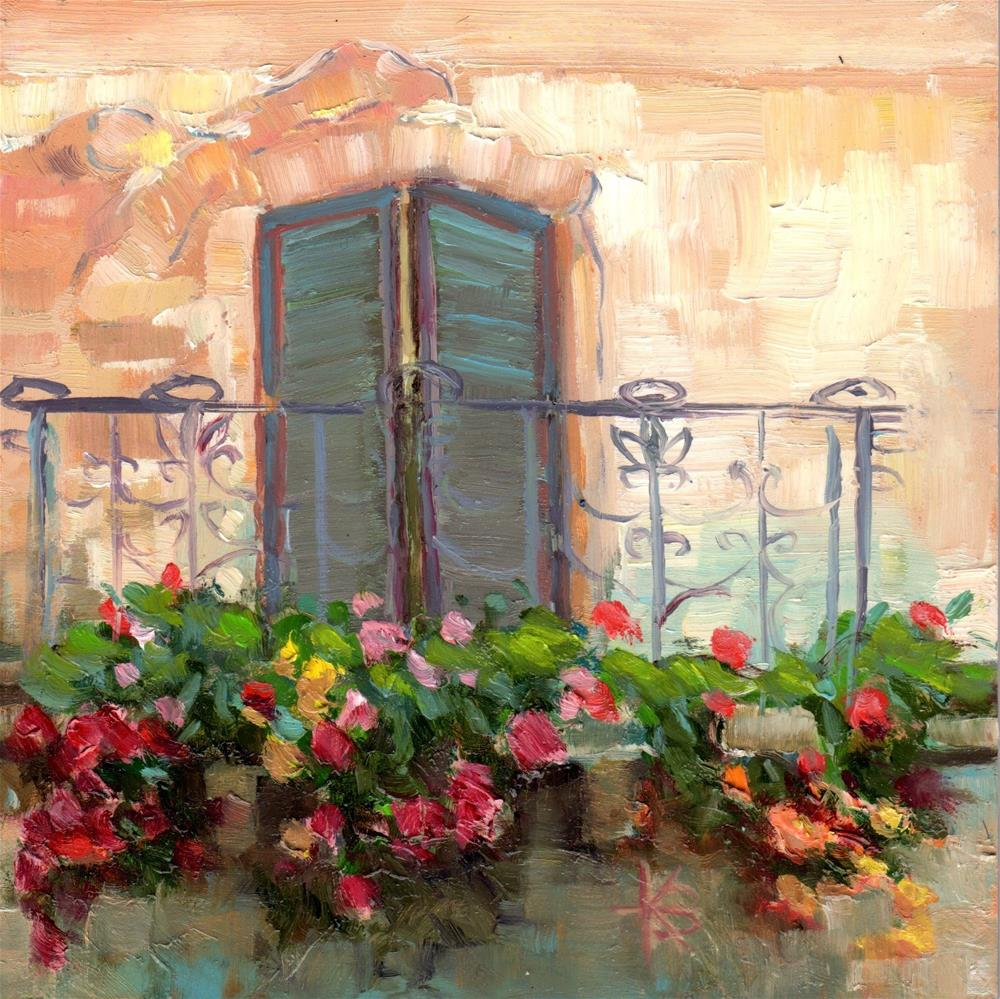 """Tuscany Terrace 2"" original fine art by Kathy Bodamer"