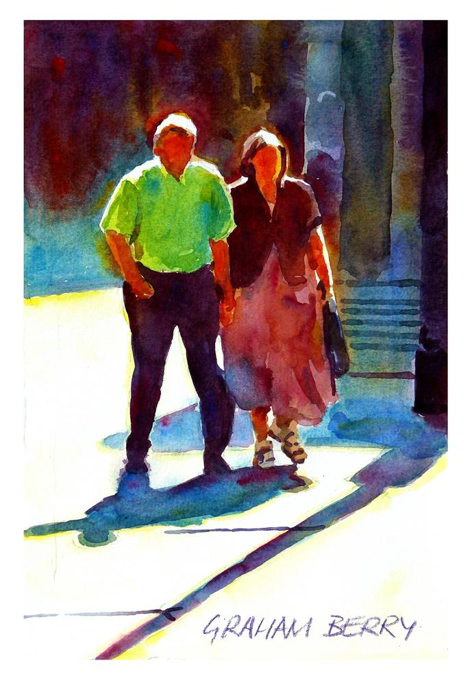 """""""Couple walking in the sun."""" original fine art by Graham Berry"""