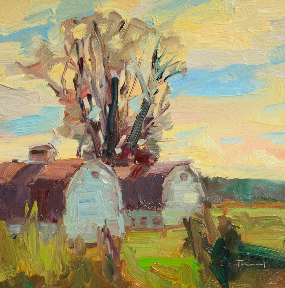 """""""Nisqually Barns"""" original fine art by Kathryn Townsend"""
