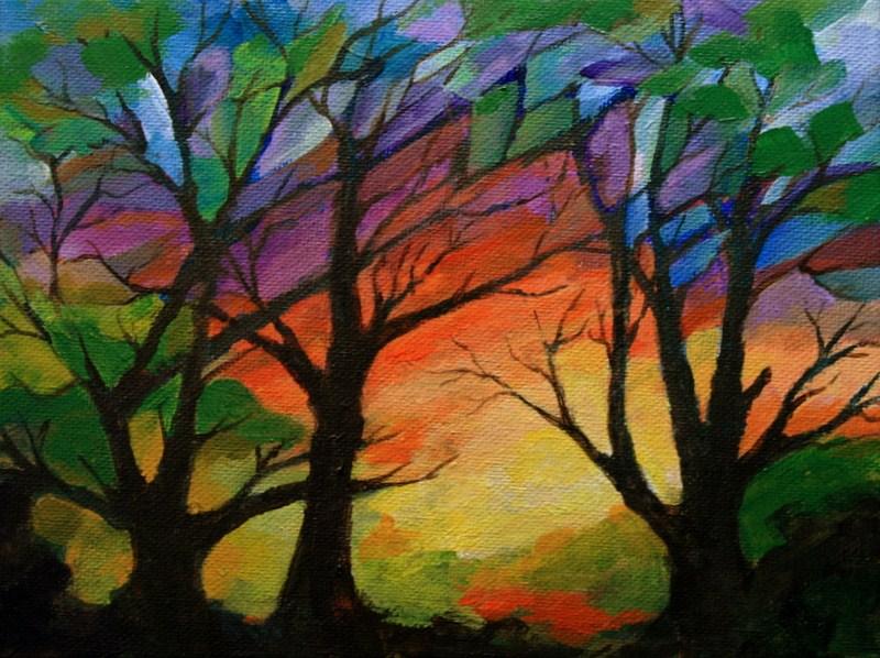 """""""Mosaic Sunset"""" original fine art by Jean Nelson"""