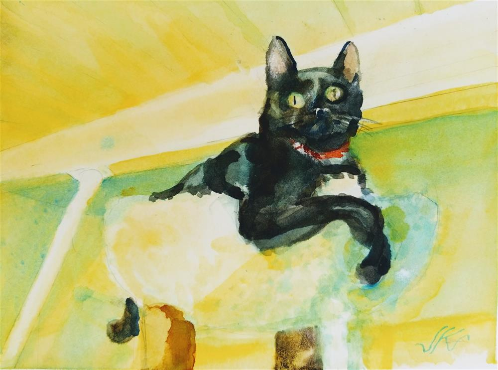 """Buck the Cat"" original fine art by Jean Krueger"
