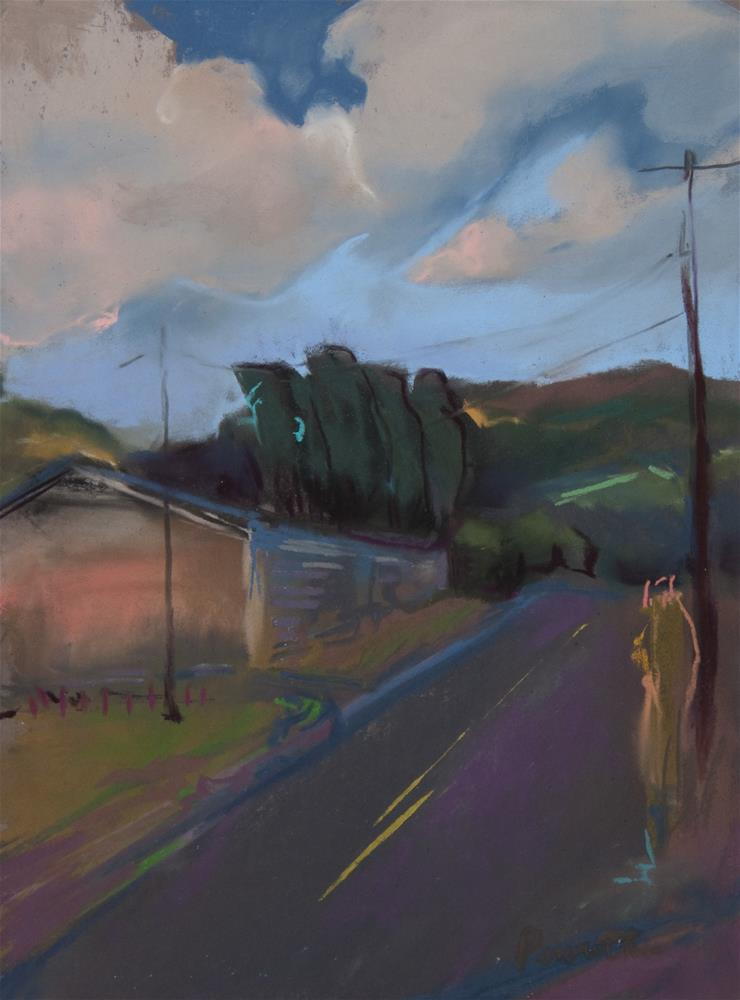 """""""Down the Road and Over the Bend"""" original fine art by Sarah Peroutka"""