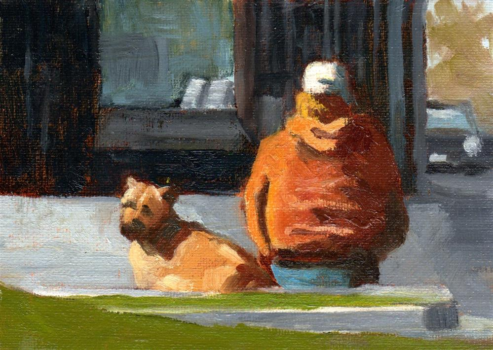 """Watching over His Master"" original fine art by Marlene Lee"