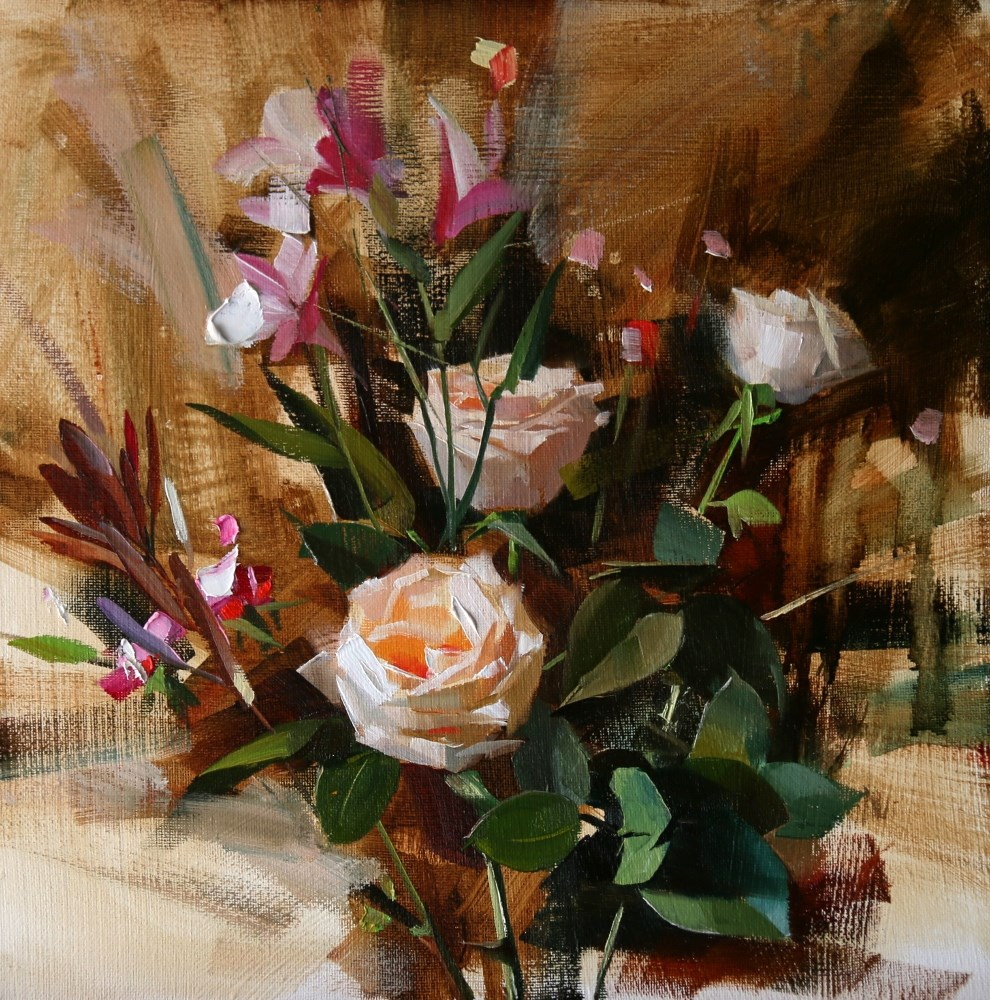 """Three White Roses"" original fine art by Qiang Huang"