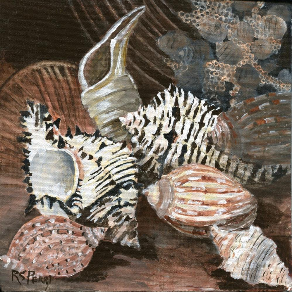 """Gastropods: cyetulus spindle, murex, and harp "" original fine art by R. S. Perry"