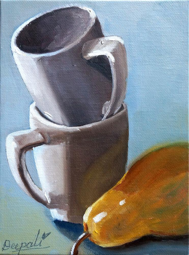 """Stacked Cups with Pear"" original fine art by Dipali Rabadiya"