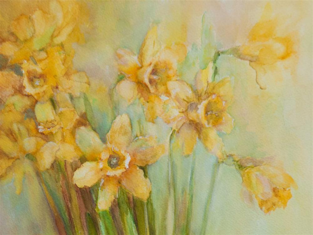 """""""Daffodils or Spring sun"""" original fine art by Olga Touboltseva-Lefort"""