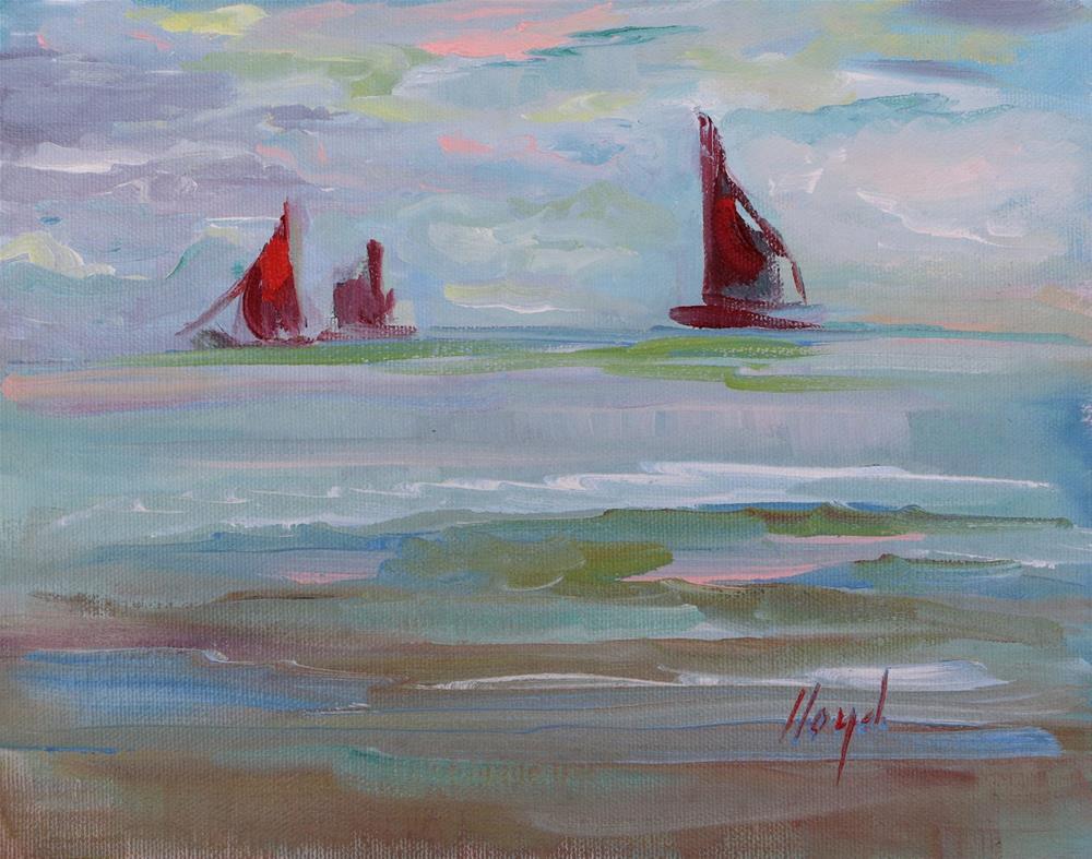 """Three Little Red Sailboats"" original fine art by Diane Lloyd"