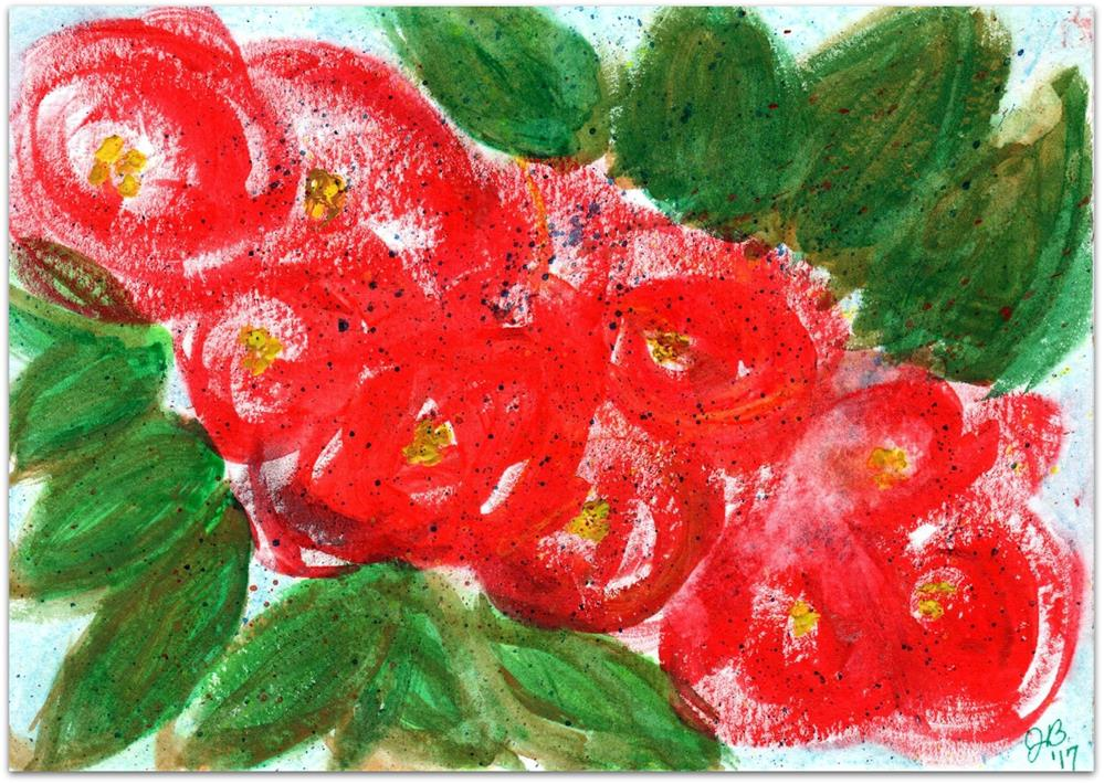 """Crimson Flower Study"" original fine art by Jan Burch"