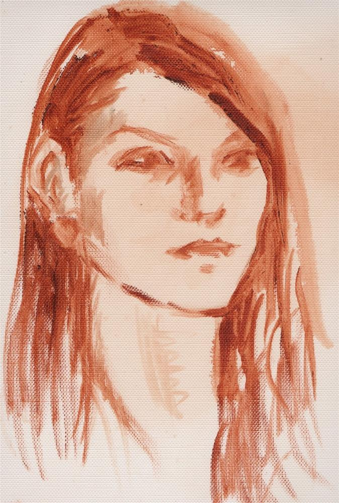 """Sketch of Girl, 11x14, Oil on Canvas"" original fine art by Carmen Beecher"