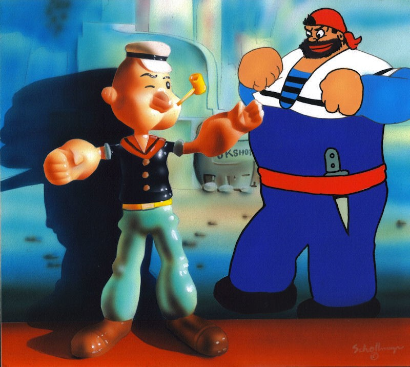 """Popeye the Sailor"" original fine art by Fred Schollmeyer"