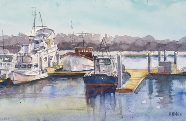 """Tuna Boats at Seaport Village"" original fine art by Katharine Engh"