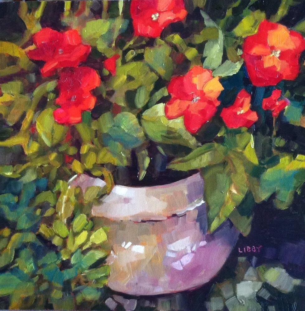 """""""Patio Flowers"""" original fine art by Libby Anderson"""