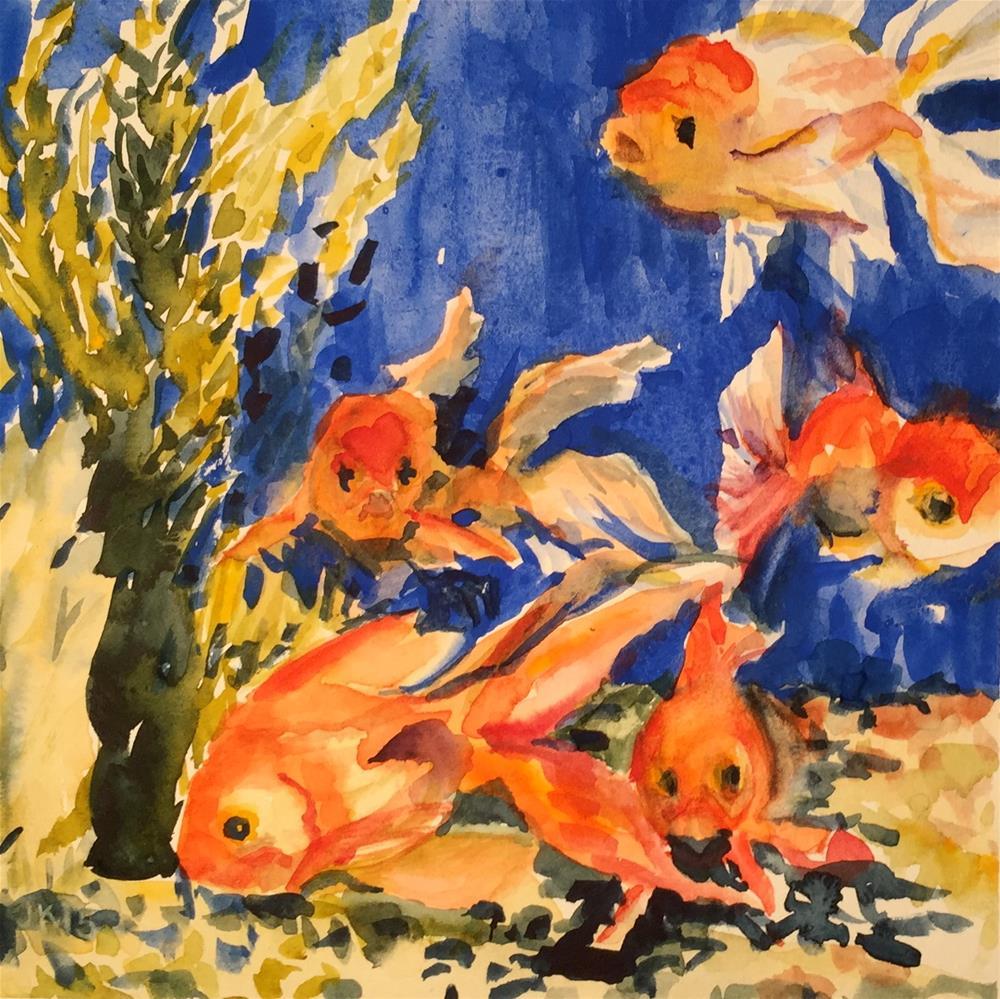 """Five Goldfish"" original fine art by Jean Krueger"
