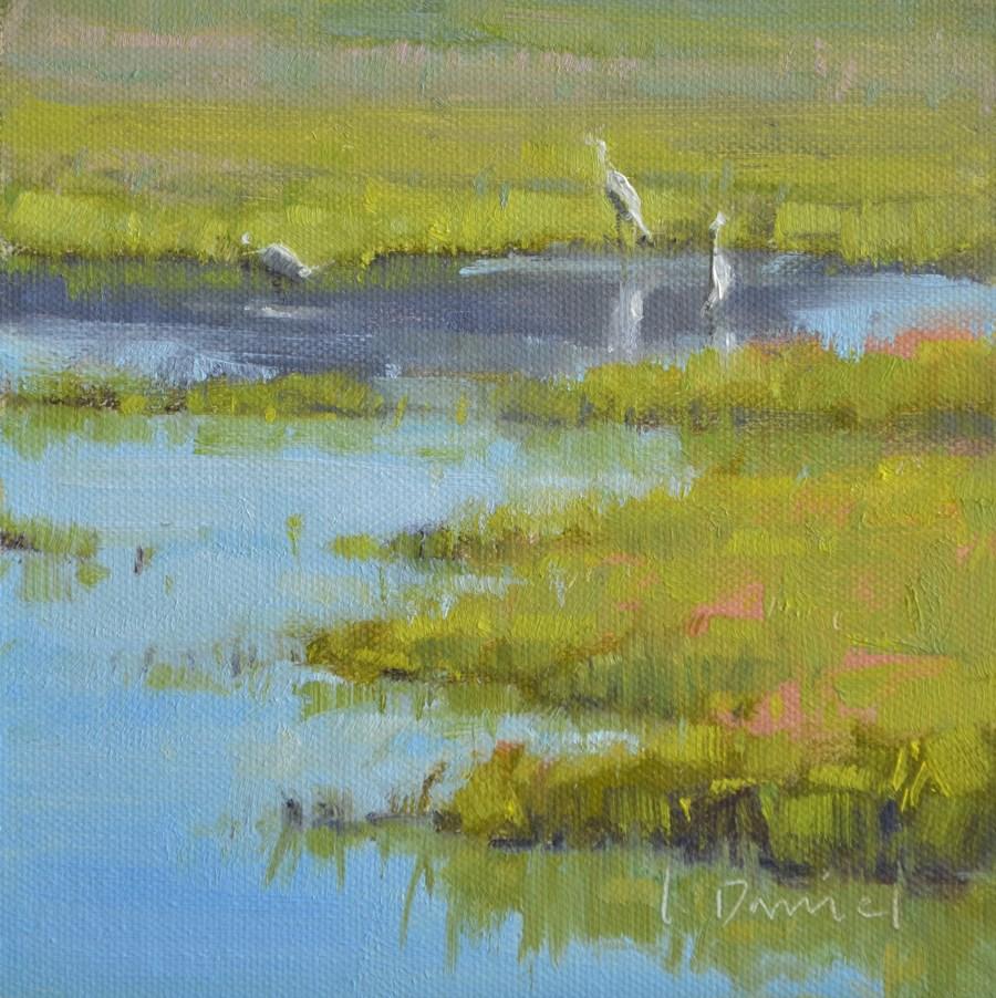 """Feasting Egrets - Georgia Coast"" original fine art by Laurel Daniel"