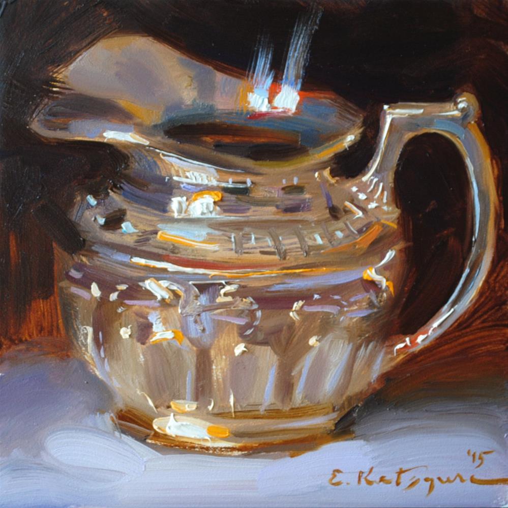 """Silver Milk Jug"" original fine art by Elena Katsyura"