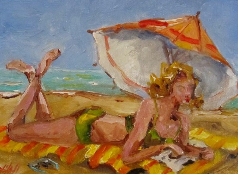 """Beach Read"" original fine art by Delilah Smith"