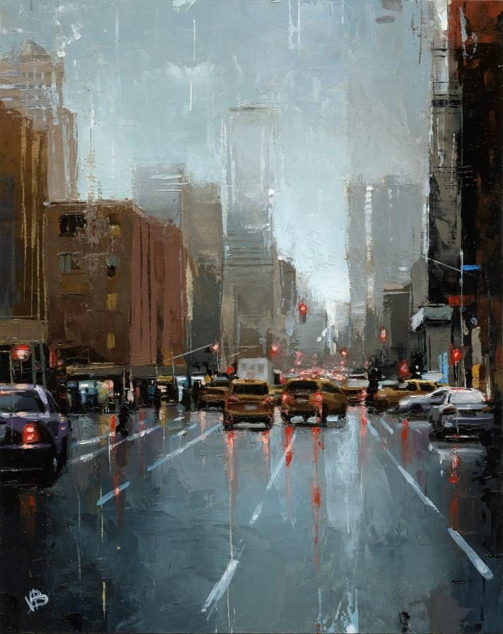 """10th Avenue NYC"" original fine art by Victor Bauer"