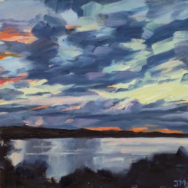 """Sunset at Half-Moon Bay"" original fine art by Jessica Miller"