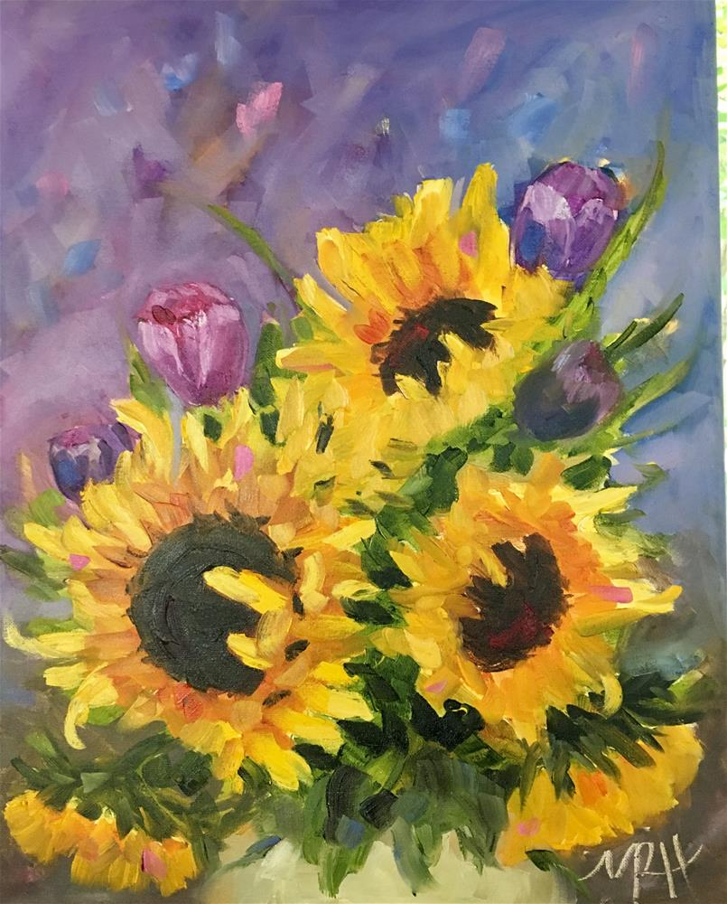 """""""Bed head Sunflowers and Tulips"""" original fine art by Molly Rohrscheib Hathaway"""