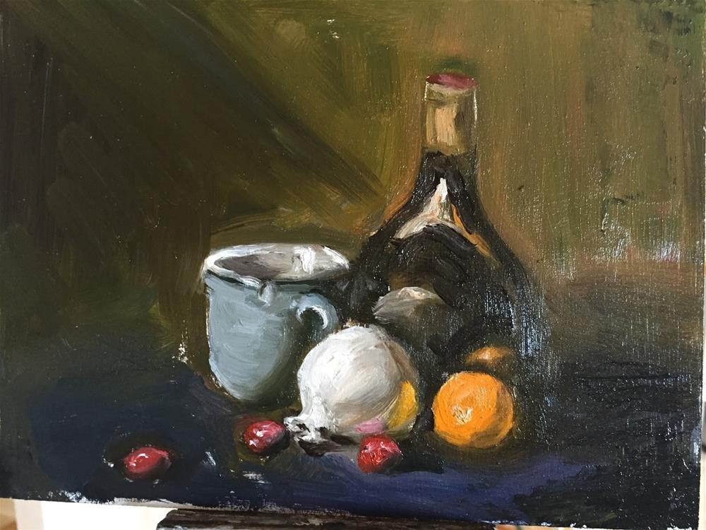 """""""Blue Coffee Cup and Tangerine"""" original fine art by Rick Blankenship"""
