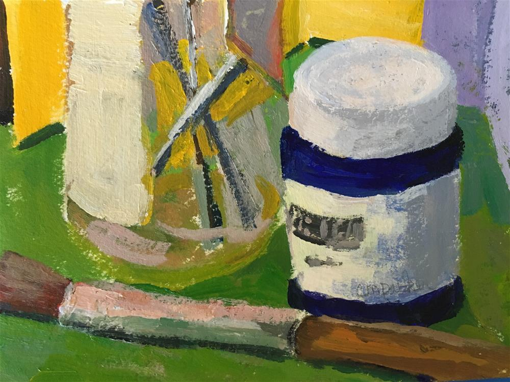 """""""Still life with artists tools"""" original fine art by Christine Parker"""