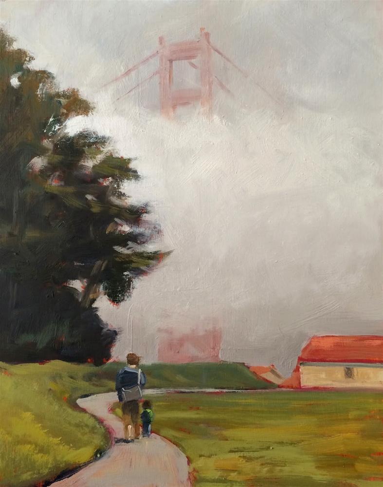 """Father and Son Walk"" original fine art by Deborah Newman"