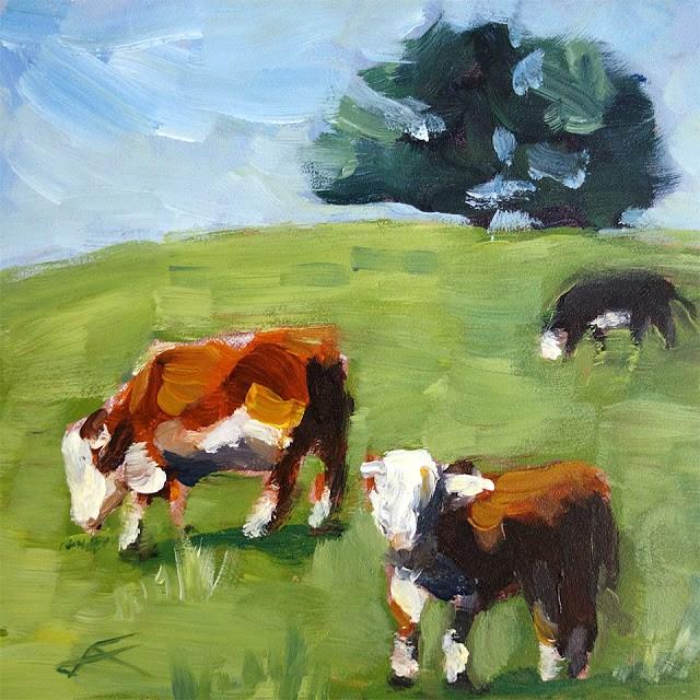"""Cows"" original fine art by J. Farnsworth"