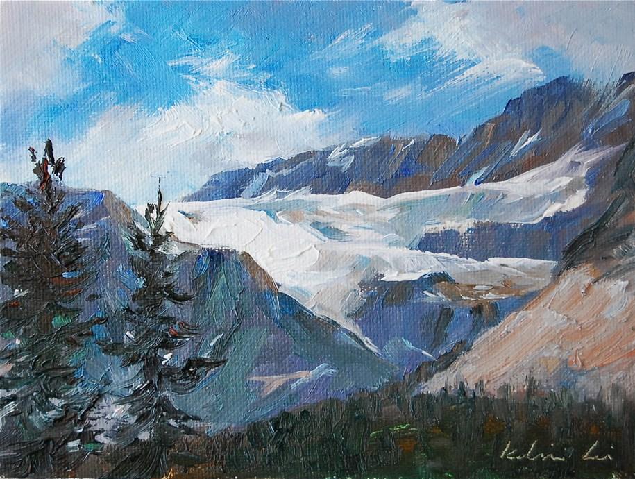 """""""Bow Lake in Rockies Mountaint"""" original fine art by Kelvin Lei"""