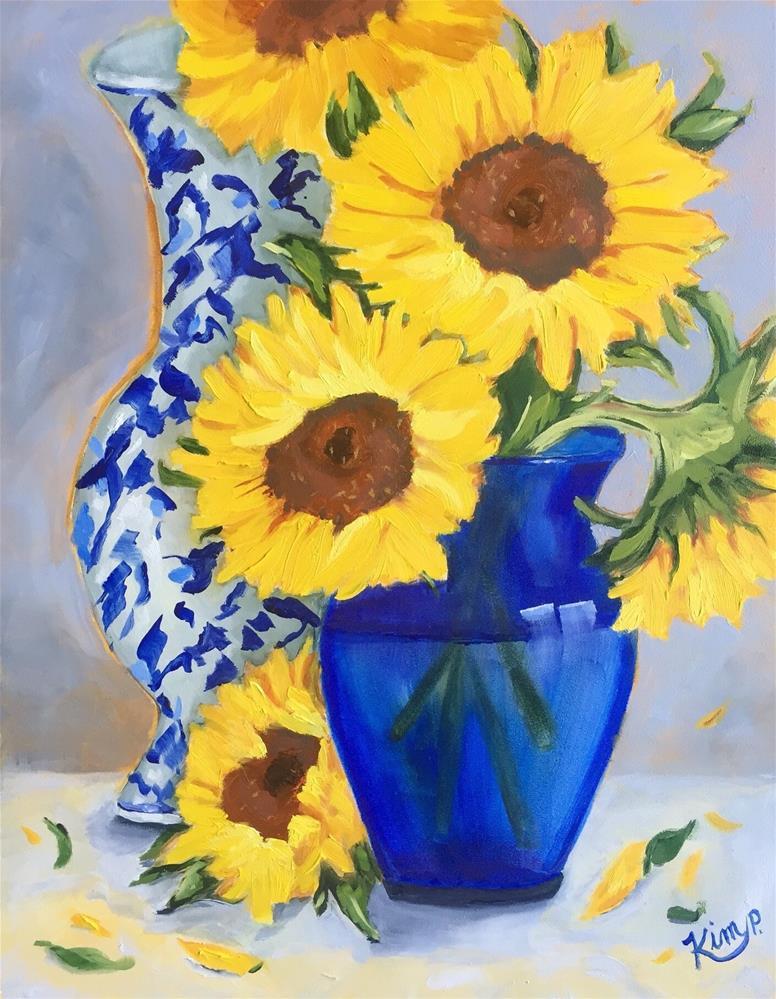 """Sunflowers in Blue Vase"" original fine art by Kim Peterson"