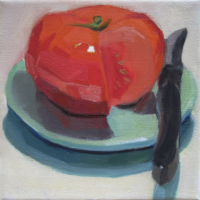 """Tomato on Green Plate"" original fine art by Robin Rosenthal"