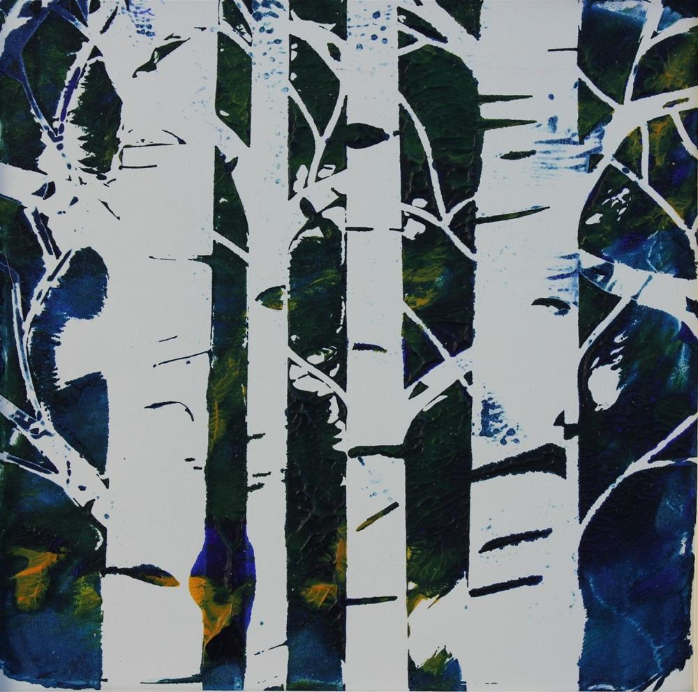 """""""Birch Trees, Contemporary Monoprint by Amy Whitehouse"""" original fine art by Amy Whitehouse"""