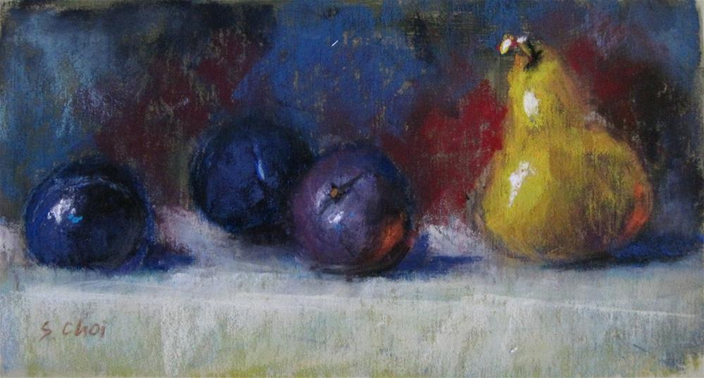"""Pear with plums"" original fine art by Sunkyung Choi"