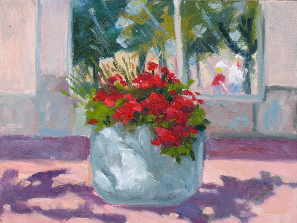 """Sidewalk Flowers"" original fine art by Rhett Regina Owings"