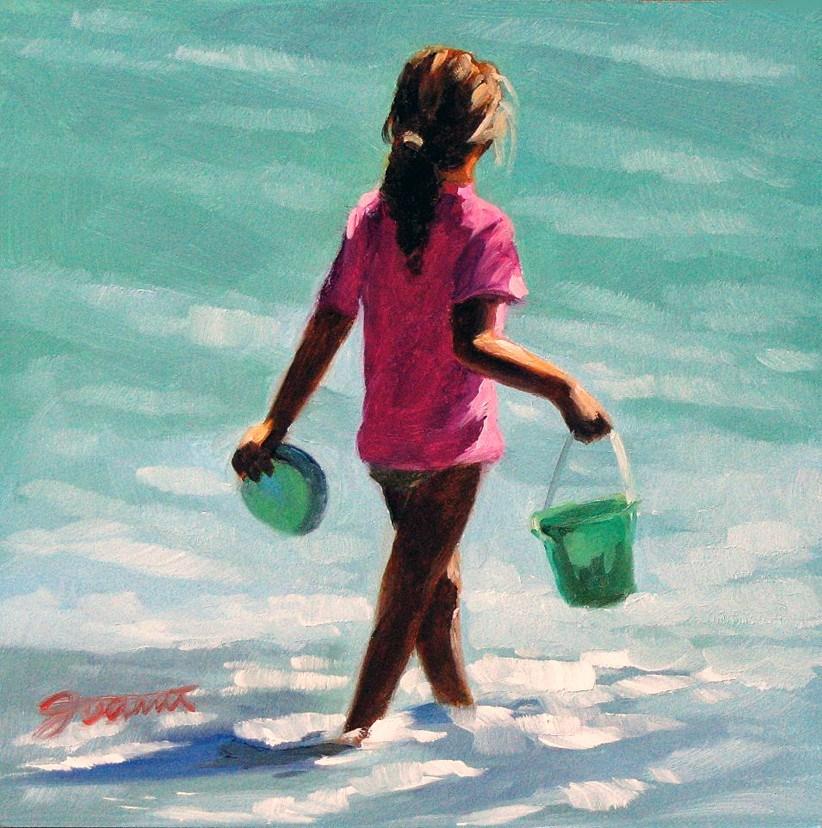 """Green Bucket--Beach Babies Series"" original fine art by Joanna Bingham"